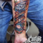 Neo-Traditional Piston Tattoo