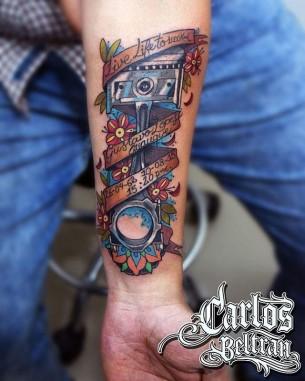 Neo-Traditional Piston Tattoo