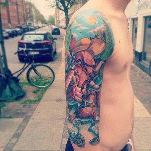 New School Half Sleeve Tattoo