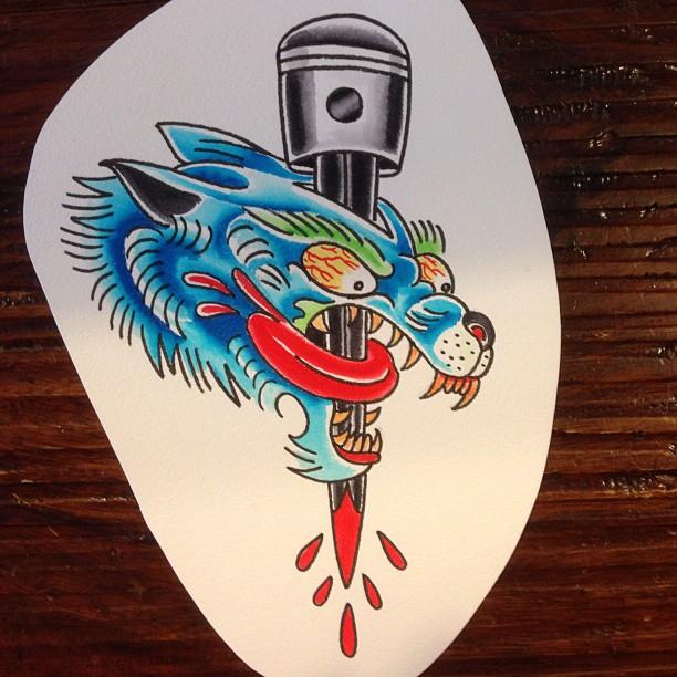 New School Piston Wolf Tattoo by deanmachineusa
