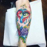 New School Tattoo on Calf by jade_colliver_1991