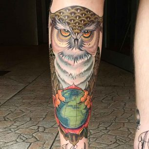 Owl on Globe Shin Tattoo