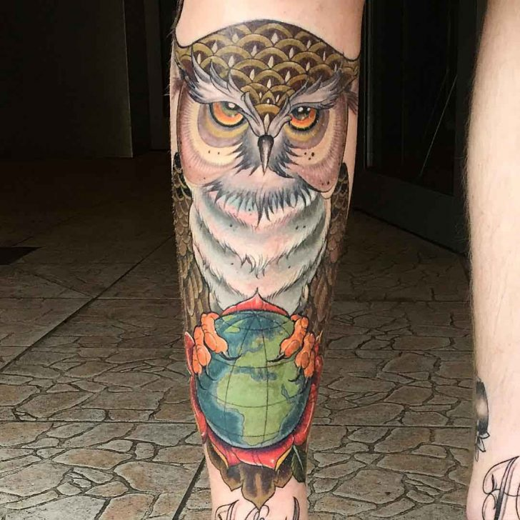 Owl on Globe Shin Tattoo by matstache