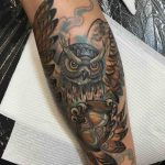 Owl with Hourglass Tattoo on Calf by drawingbloodstudio