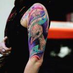 Peacock Shoulder Half Sleeve Tattoo