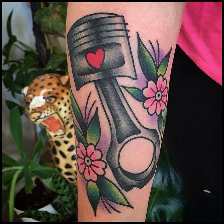 Pink Flowers Tattoo Piston by jovictattoo