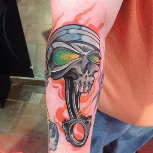 Piston Skull Tattoo by TRAVIS JAMES