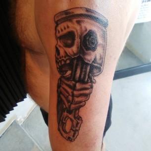 Piston and Skull Tattoo