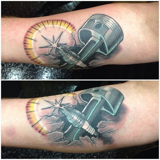 Piston and Spark Plug Tattoo by adamnagytattoos