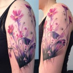 Purple Flowers Tattoo on Shoulder