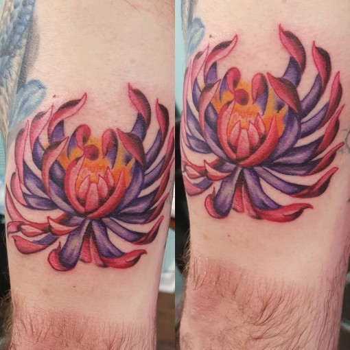 Purple Lotus Tricep Tattoo by bronbronink