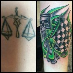 Racing Tattoo Cover Up by @dejahtattoos