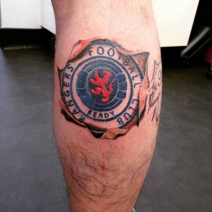 Rangers Football Club Tattoo on Calf by yobynthesprout