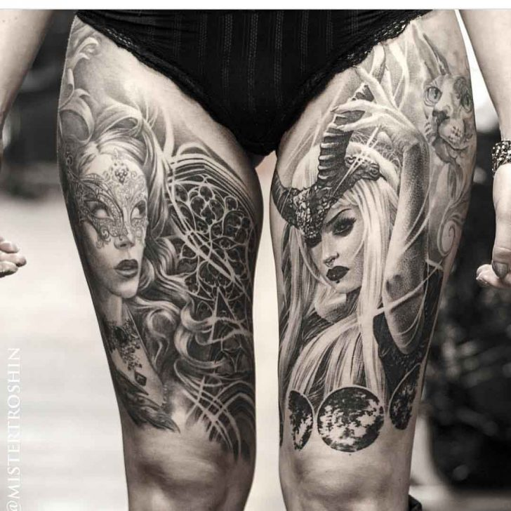 thigh tattoos realism girls
