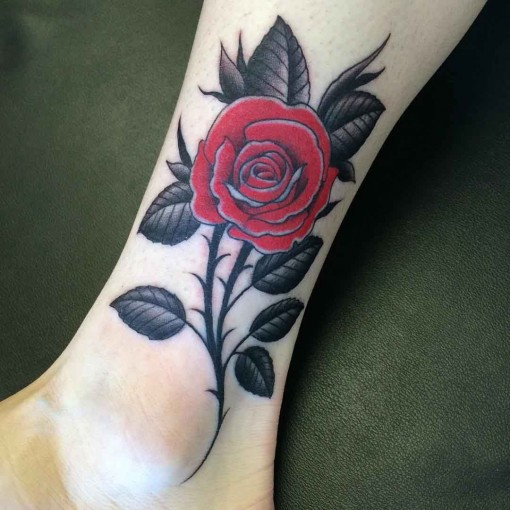 Rose Ankle Tattoo by jamesbondtattoos
