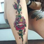 Rose Tattoo on Leg by lesyadanko