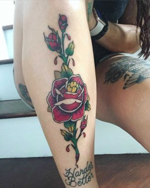 Rose Tattoo on Leg