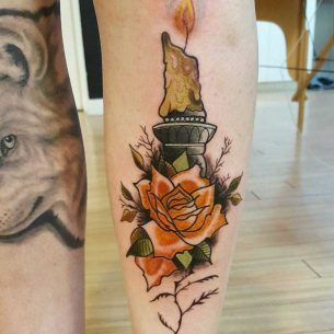 Rose and Candle Tattoo on Shin