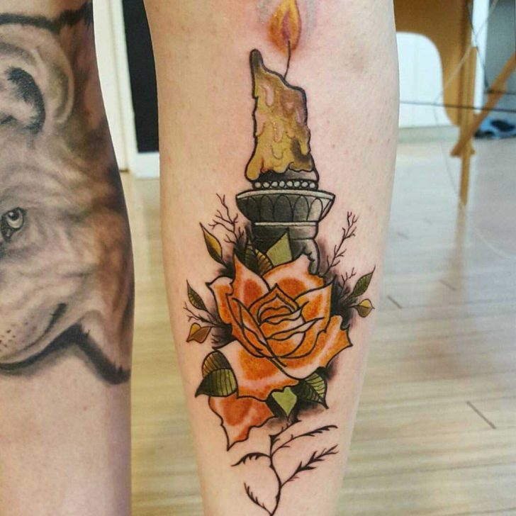 Rose and Candle Tattoo on Shin by @lauratattoos_