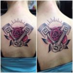Rose and Pistons Tattoo