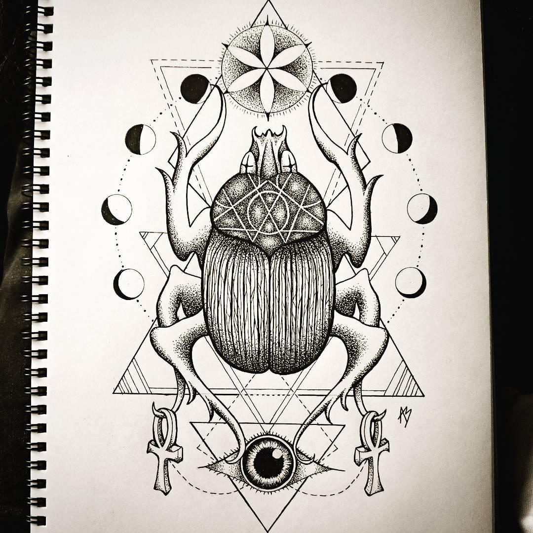 Scarab Tattoo Designs by alicebaker_artdesign
