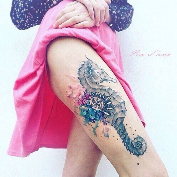 thigh tattoo sea horse