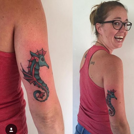 Sea Horse Tattoo on Tricep