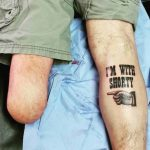 Self-Ironical Calf Leg Tattoos by grahamdermagraphica