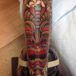 Shin Tattoo Tiki Mask