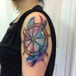 shoulder steering wheel tattoo watercolor