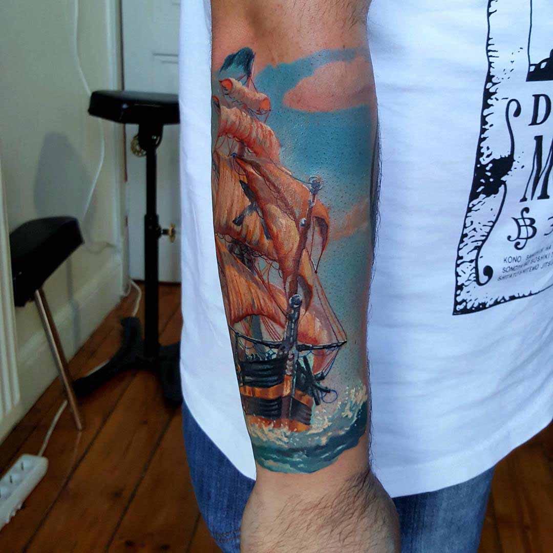Ship Tattoo Sleeve by kobay_kroniktattoo