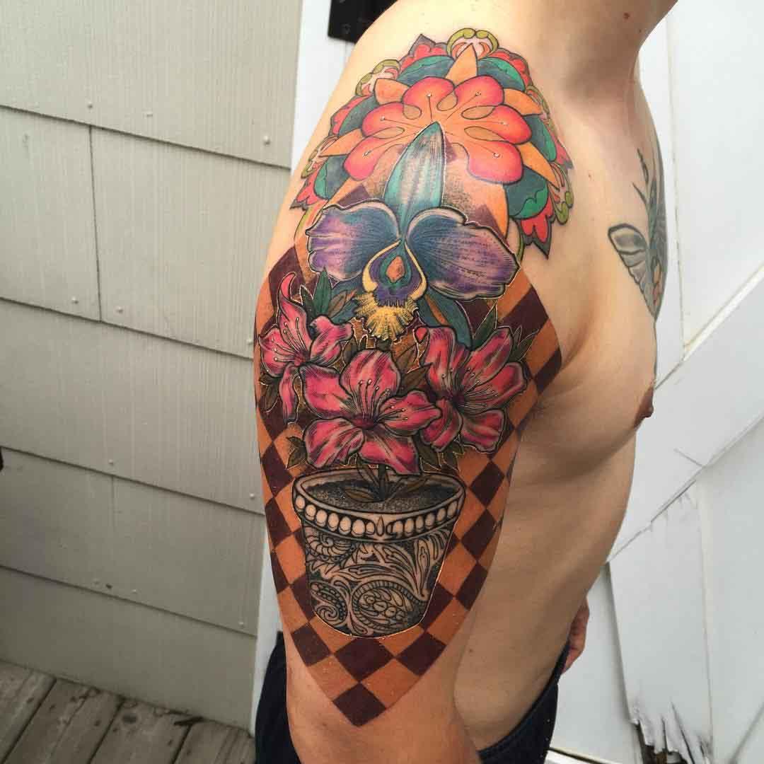 flower pot mandala tattoo on shoulder
