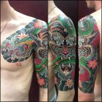 Shoulder Half Sleeve Tattoo by @fabienletatoueur