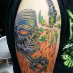Skull Piston Tattoo Flaming