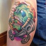 Skull Pistons Tattoo