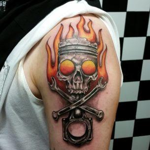 Skull and Piston Tattoo