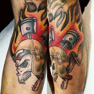 Skull and Pistons Tattoo