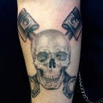Skull with Pistons Tattoo