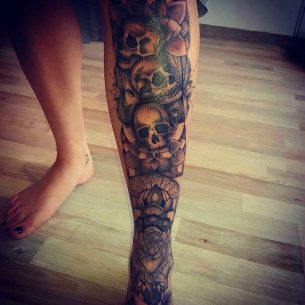 Skulls Tattoo on Shin