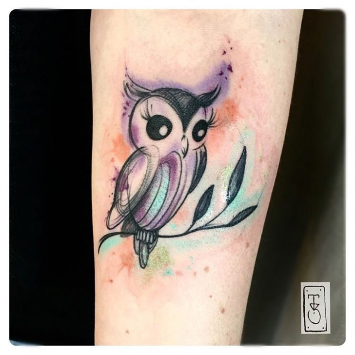 cute owl bird tattoo