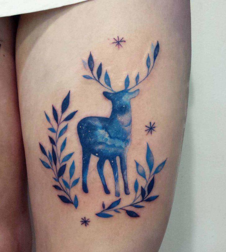 leaf antlers stag tattoo