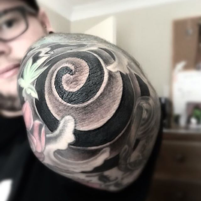 Spiral Elbow Tattoo by maddog_tatts