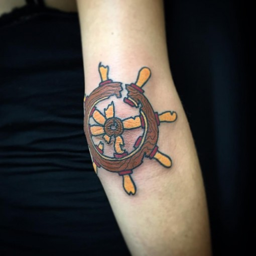 Steering Wheel Tattoo by mikepopetattoo