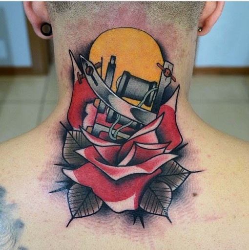 tattoo gun back neck tattoo