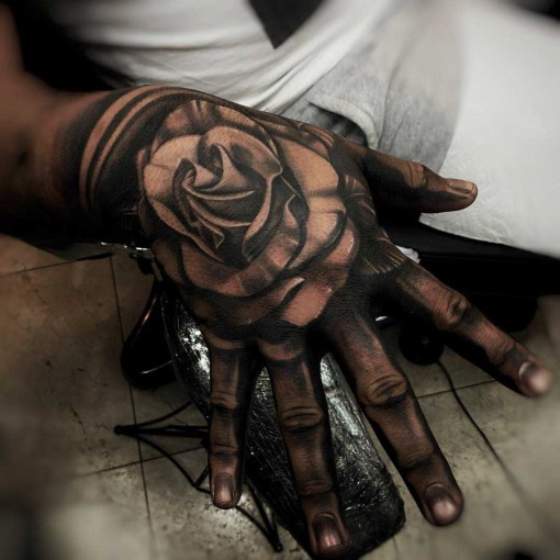 full hand grey tattoo rose