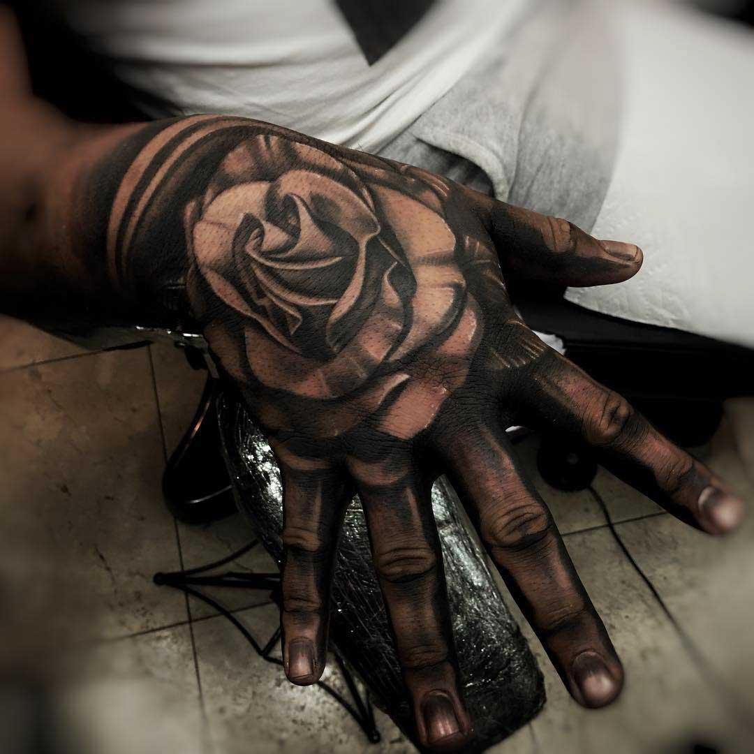 full hand grey tattoo rose