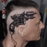 head tattoo tattoo gun