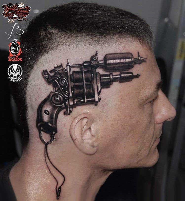 head tattoo tattoo gun