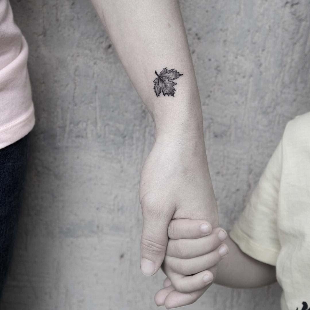 small maple leaf tattoo