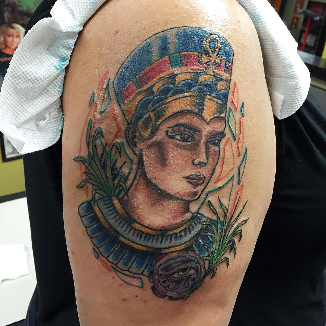 Tattoo of Queen Nefertiti by actionfigurepainter